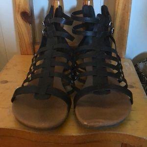 Just Fab Black Short Gladiator Sandals Size 11